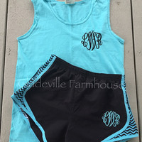 Monogrammed Comfort Color Tank with Running Shorts