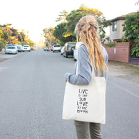 tenthings live by the sun love by the moon screen print cotton tote by TenThings