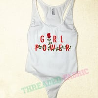 Girl power, roses, American Apparel printed bodysuit, tumblr top, grunge style, dancewear, bodysuit, Concert Top, cute tops