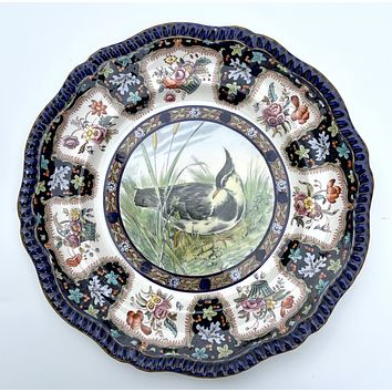 Copeland Spode Upland No. 7 Plover Game Birds Enameled Clobbered Antique Bi Color Transferware Plate