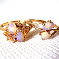 Retro 80's 18K GP Opal Cocktail Rings Lot of 2