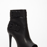 FOREVER 21 Buckled Peep-Toe Booties Black