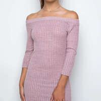 Frolic Off The Shoulder Dress - Pink