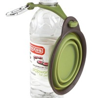 Dexas Popware for Pets Travel Cup/Bowl with Bottle Holder, Small, Green