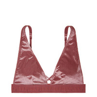 New! Velvet Ribbed Plunge Bralette - PINK - Victoria's Secret