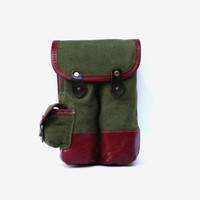 Vintage military ammo pouch army waxed canvas pouch soviet green authentic ammo bag clips belt ammo holder pouch