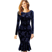 Womens Dresses Velvet Vintage Elegant Floral Mermaid Pinup Wiggle Business Vestidos Party Bodycon Fitted Dress 369
