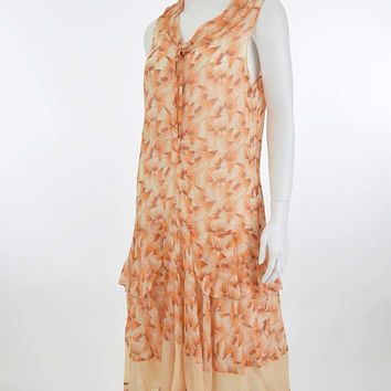 1920s Print Voile Dropped Waist Tiered Dress-M