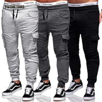 2018 Fstmetors Pencil men Pants  LengthFlat Broadcloth Elastic Waist Pockets Pants   Mens Joggers Trousers Men  Sweatpants
