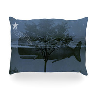 "Suzanne Carter ""Whale Watch"" Blue Illustration Oblong Pillow"