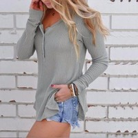 Casual Ribbed & Buttoned Blouse