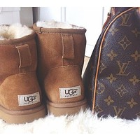UGG Short boots antiskid warm lazy sheep fur ugg boots Chestnut I Tagre™