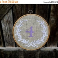 Wedding season sale Lavender Wedding, Embroidered Table Number, Burlap Decoration, Hoop Embroidery, Rustic, Cottage Chic