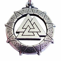 """Pewter Valhalla Valkyrie Valknut Pendant Celtic Norse Viking Necklace Jewelry """"The Knot of the Fallen"""""""