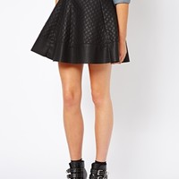 Only Quilted Pu Skater Skirt