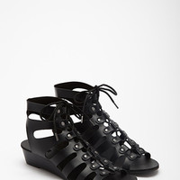 Lace-Up Wedge Gladiator Sandals