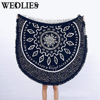 150cm Round Summer Beach Towel Throw Blanket Yoga Mat with Tassels Indian Mandala Beach Towel Throw Rug Picnic Cloth