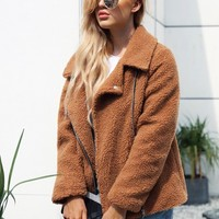 Notched Neck Zip Up Solid Teddy Jacket | SHEIN