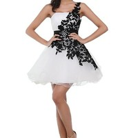 Honeystore Women's Applique Short homecoming dresseses Color Black and White Size US4/UK8/EUR34