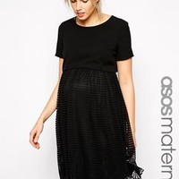 ASOS Maternity | ASOS Maternity Exclusive Shell Top Dress with Stripe Lace Skirt at ASOS