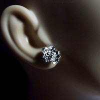 White Gold Flower Post Earrings, Mothers Day Gifts, Mom Sister Grandmother Jewelry, Silver Earrings, Simple, Pretty