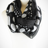 Cozy by LuLu - Billowy Black and White Dotted Scarf