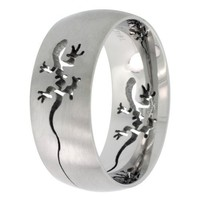 Surgical Steel Domed 9mm Tribal Gecko Ring Wedding Band Comfort-Fit, sizes 7 - 14