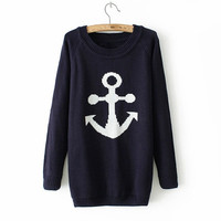 Women Fashion Autumn Winter Casual Long Sleeve O-neck Pollover Anchor Knited Sweater = 1946268292