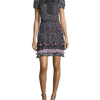 Short-Sleeve Multipattern Silk-Blend Dress, Black/Multicolor, Size: