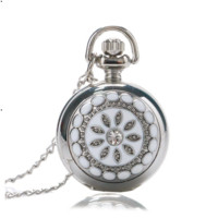 White Pearl Flower Vintage Style Mini Pocket Watch Necklace For Woman