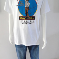 Indiana Jones Vintage Disney MGM Studios Theme Park White Graphic Tee Shirt Size Large Disney Character Fashions Made in USA