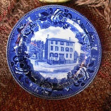 Flow Blue Transferware Plate Wedgwood Roses Poet Longfellow Home