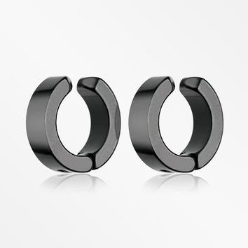 A Pair of Blackline Steel Non-Piercing Snap Clip Hoop Earring