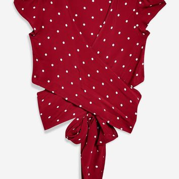 Dot Print Wrap Crop Top by Flynn Skye - Shirts & Blouses - Clothing