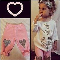 Fashion Kids Baby Girls Toddler Cute T Shirt Long Sleeve Outfits Letter Cotton Top + Pants Love Set Clothes Outfits Girl Autumn