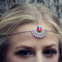 mexican opal silver head piece, chain headband, opal headband, metal headband,dragons breath