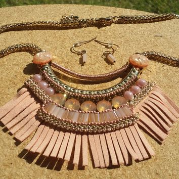 Pink Play Necklace and Earring Set