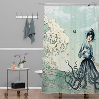 Nautical Fairy Mermaid Octopus Great Wave Shower Curtain - Made in USA