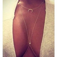 Crystal Moon Body Chain Necklace - Save 50%!