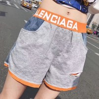 """Balenciaga"" Women Casual Fashion Multicolor Letter Webbing Shorts  Leisure Pants"
