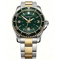 Victorinox Swiss Army Maverick GS Two-Tone Mens Watch - Green Dial - Bracelet