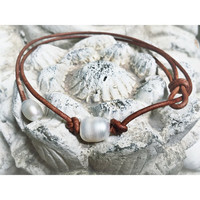 Single Freshwater Pearl  and Light Brown Leather Choker style Necklace