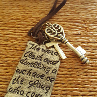 Vintage Handmade long leather cord necklace Old English book/ Cross/ Key pendant Antique gold/bronze charm pendant