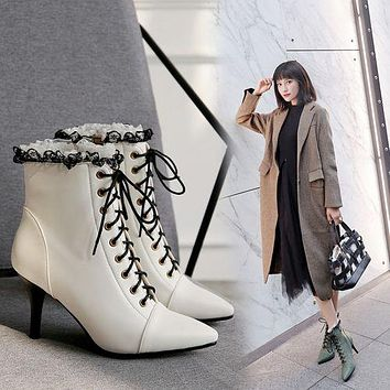 Pointed Toe Lace Up Women's Stiletto Heels Ankle Boots