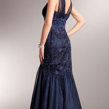 KC14226 In Stock Navy Sz 18 Lace Mermaid Prom Dress Mother of the Bride