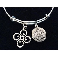 Master of your Own Destiny and Path of Life Charm on a Silver Expandable Wire Bangle Bracelet Gift Adjustable Trendy Handmade in USA