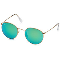 Ray-Ban Metal Polarized Round Sunglasses, Matte Gold, 53 mm