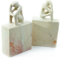 Natural Soapstone Contemplation Bookends