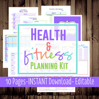 Health and Fitness Planning Kit-Fitness Planner-Diet-Weight Loss Tracker-10 Sheets-Bright-INSTANT DOWNLOAD & EDITABLE