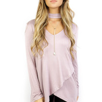 Grand Isle Light Mauve Long Sleeve Tunic Top